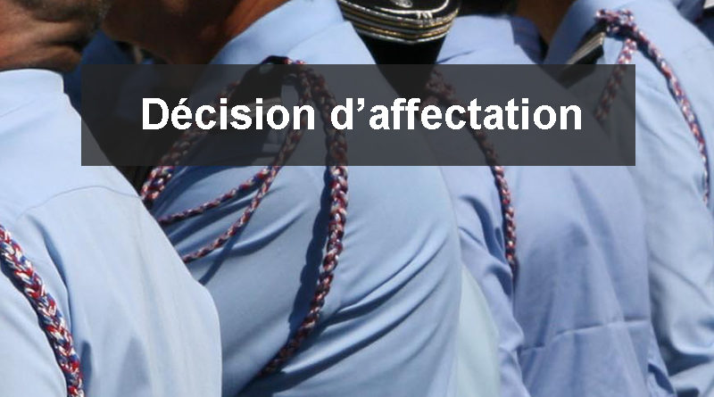 Décision d'affectation d'officiers SPP – n°2020-058